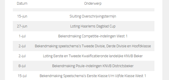 Agenda - Voetbal in Haarlem