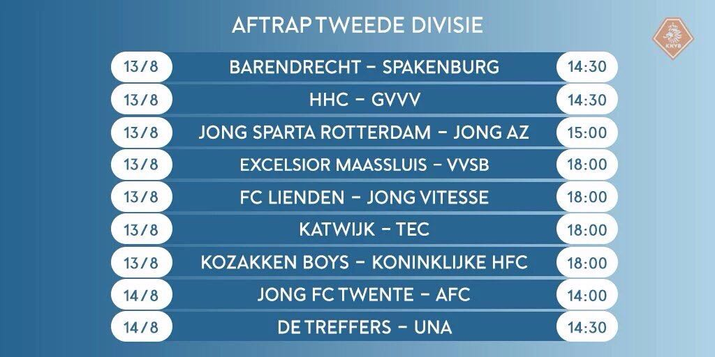 Speelschema 2e Divisie - Voetbal in Haarlem